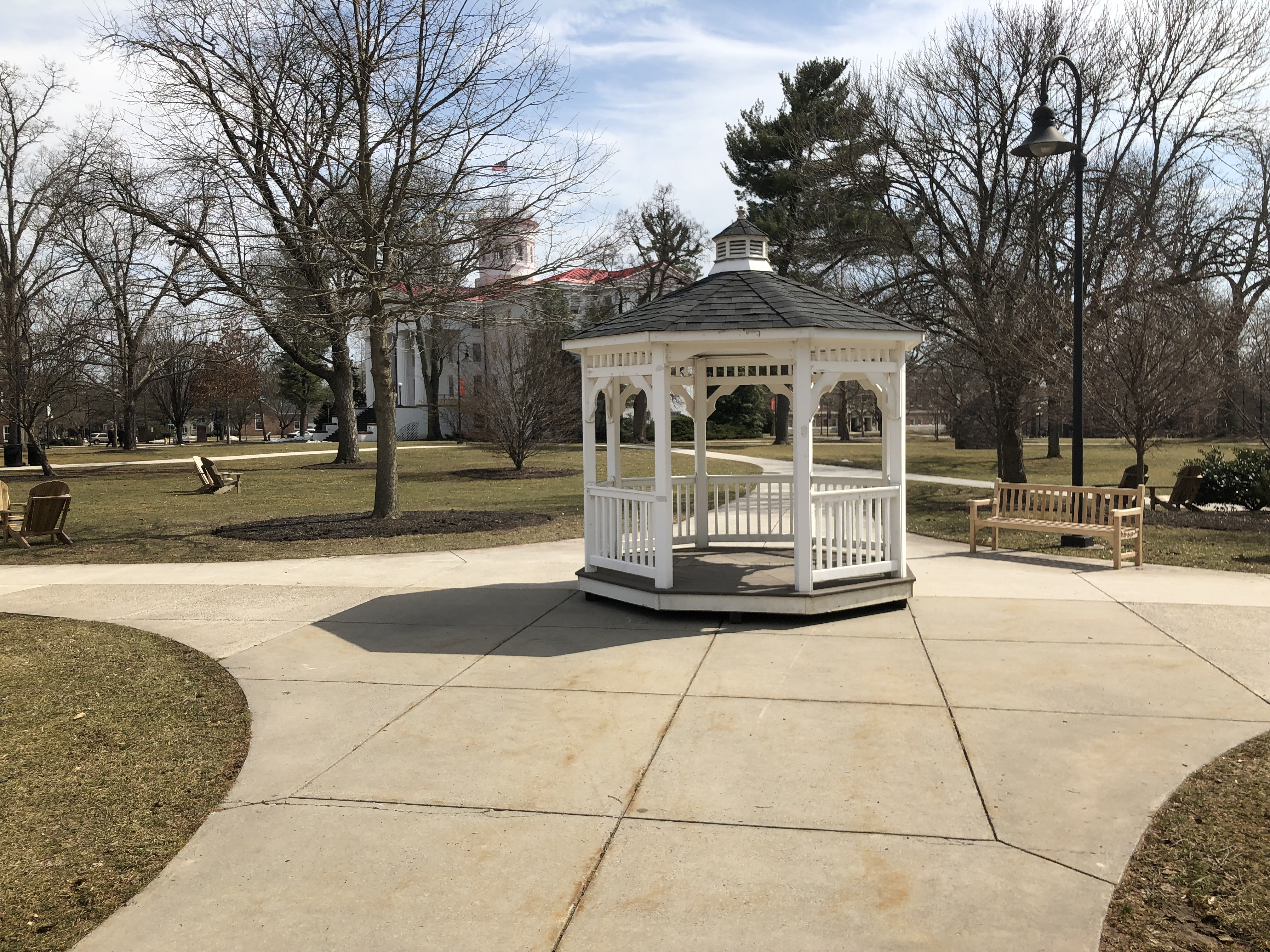 The gazebo has returned to its location at the center of campus (Photo courtesy of Joe Lynch)