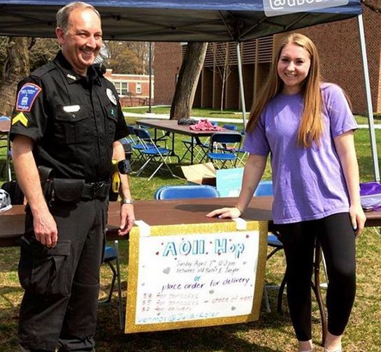 Customers at the AOII Hop's pancake fundraiser included DPS Officer Ricky Pearce (Photo courtesy of Jaime Doughtery)