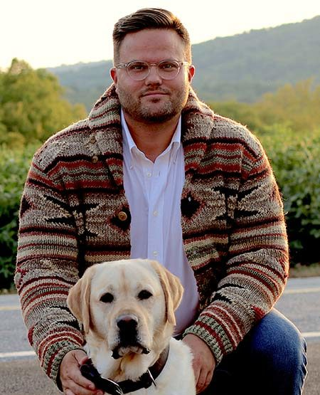 Dr. Scott Boddery, pictured here with dog Kennedy, has begun work on the Law Journal of the Liberal Arts (Photo courtesy of Gettysburg College Website).