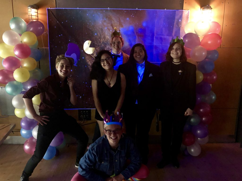 Students danced to 80s music and had fun at the second annual Queer Prom, hosted by Outerspace (Photo courtesy of Lindsey Ukishima '20)