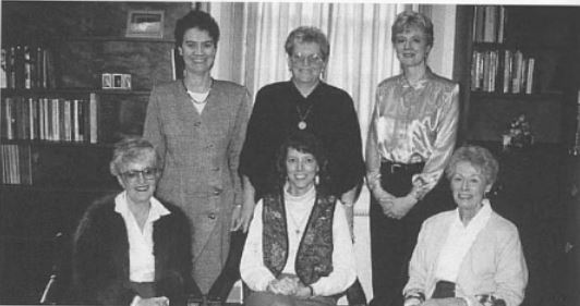 Riggs (bottom middle) served as interm provost for a time, with other members of the Provost staff pictured (Photo courtesy of 1996 Spectrum)