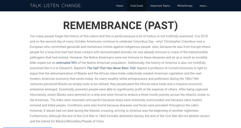 Screengrab of the club's website