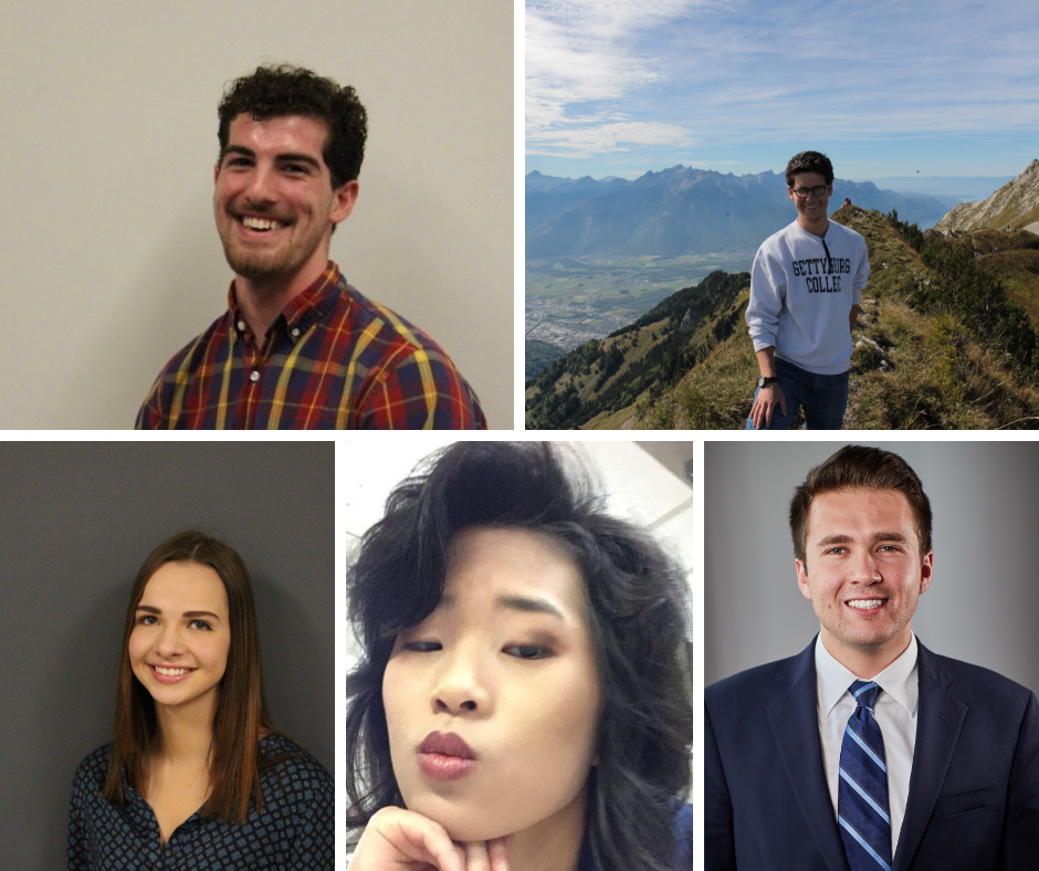 Clockwise, from top L: Vice Presidential Candidates Rock Swartz '22 and Jack Lashendock '20; Presidential Candidates Patrick McKenna '20, Hannah Dalzell '20, and Marisa Balanda '21 (Photos provided)