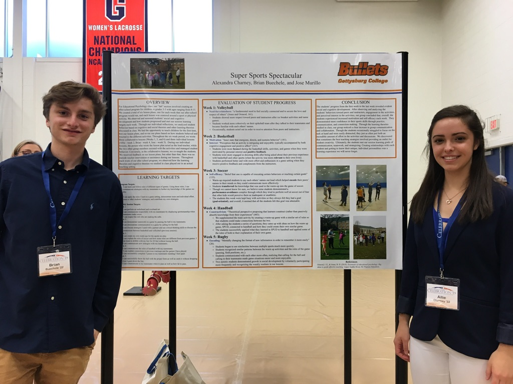 Brian Buechele '22 and Allie Charney '22 spent five weeks playing sports with children to track their cognitive development for their education psychology class. (Photo Phoebe Doscher/The Gettysburgian).