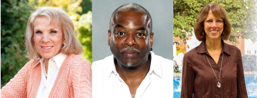 Jane Rice, LeVar Burton, and Janet Morgan Riggs '77 will receive honorary degrees at this year's Commencement ceremony (Photo courtesy of Southern PA Magazine, Wikimedia Commons, and Mary Frasier/The Gettysburgian).