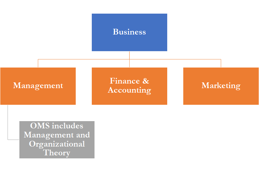 According to Management Department faculty, the field of business encompasses management, finance & accounting, and marketing, while the current OMS major focuses on management and organizational studies, an offshoot of management studies (Graphic by Benjamin Pontz/The Gettysburgian)