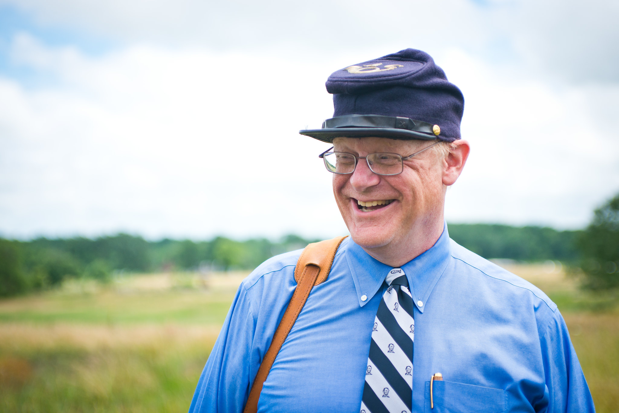 Dr. Allen Guelzo on the Gettysburg battlefield (Photo courtesy of Gettysburg College)