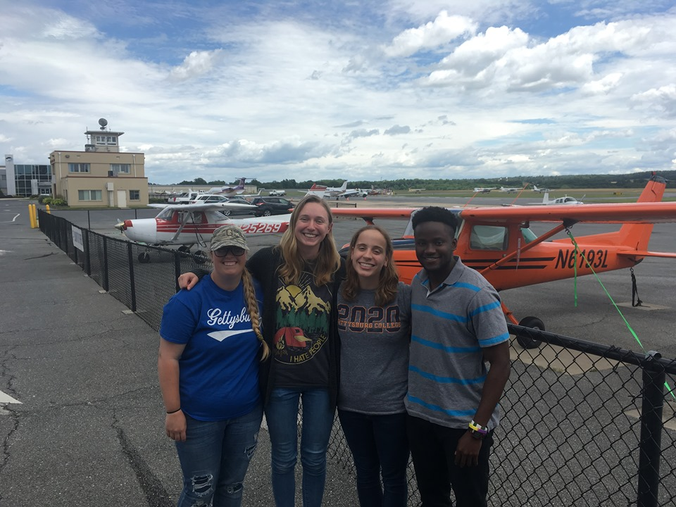 Professor Wilson's X-SIG students (from left to right) McKenzie Somers, Lauren Sherman, Marisa Immordino, and Precious Ozoh after passing their FAA Remote Pilot Test (Photo courtesy of Andy Wilson).