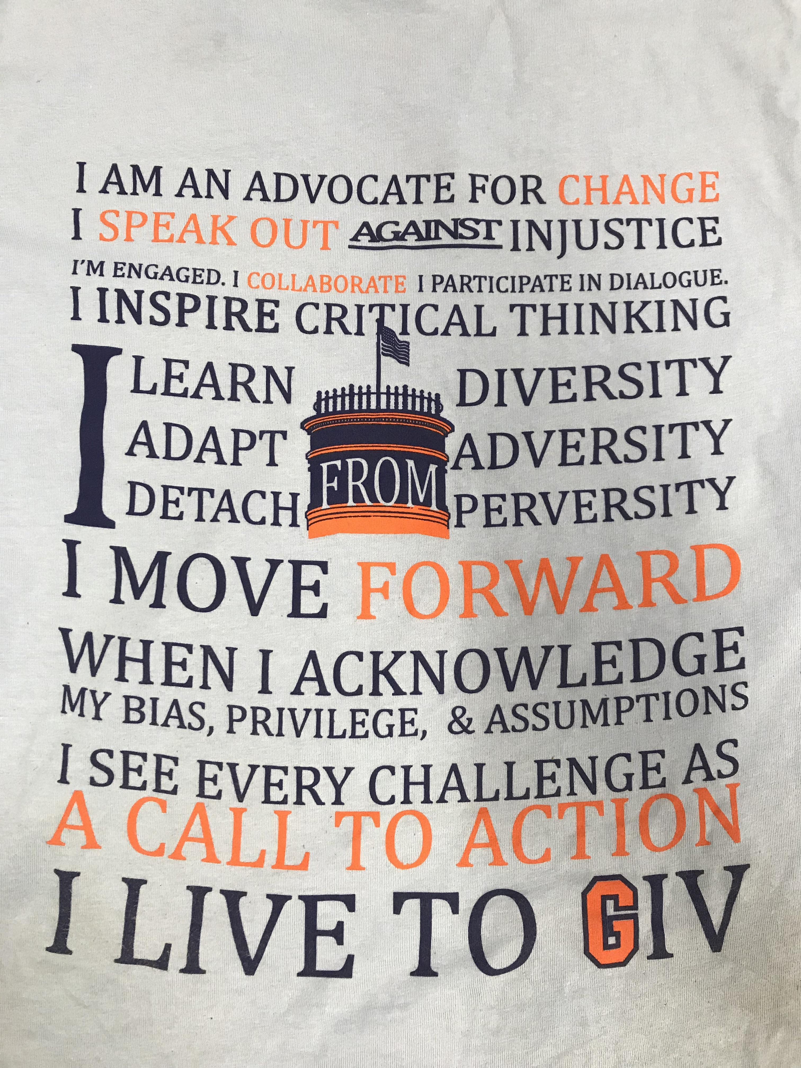 The graphic on the back of students' GIV Day t-shirts described the values they upheld throughout their community service work (Photo Nicole DeJacimo/The Gettysburgian).