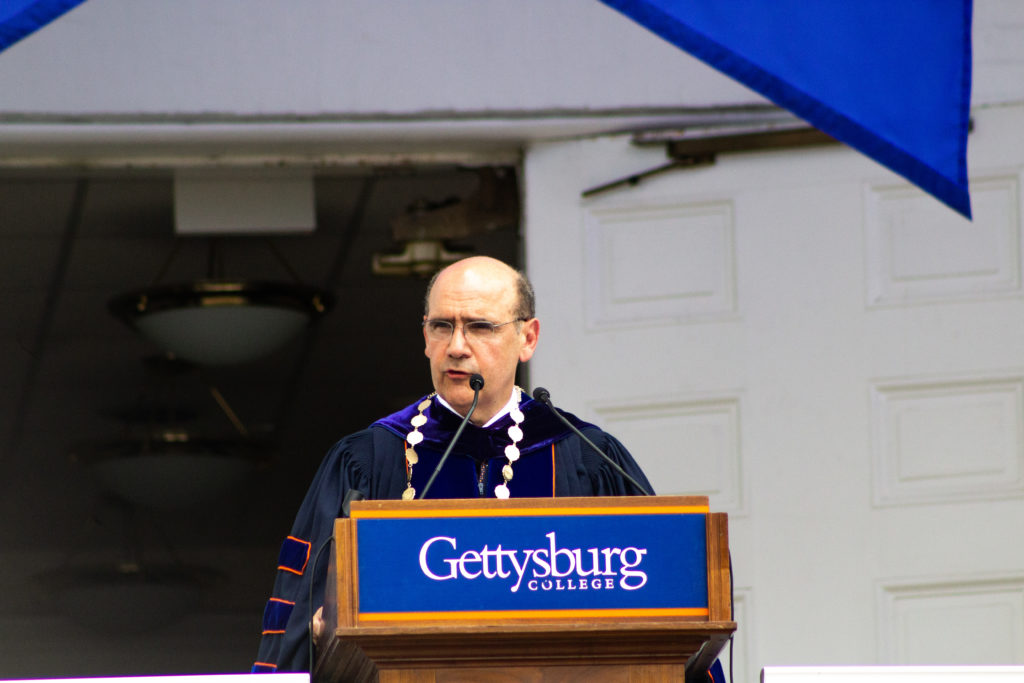 President Iuliano delivers the Inaugural Address, donning the Presidential Medallion (Photo Allyson Frantz/The Gettysburgian)