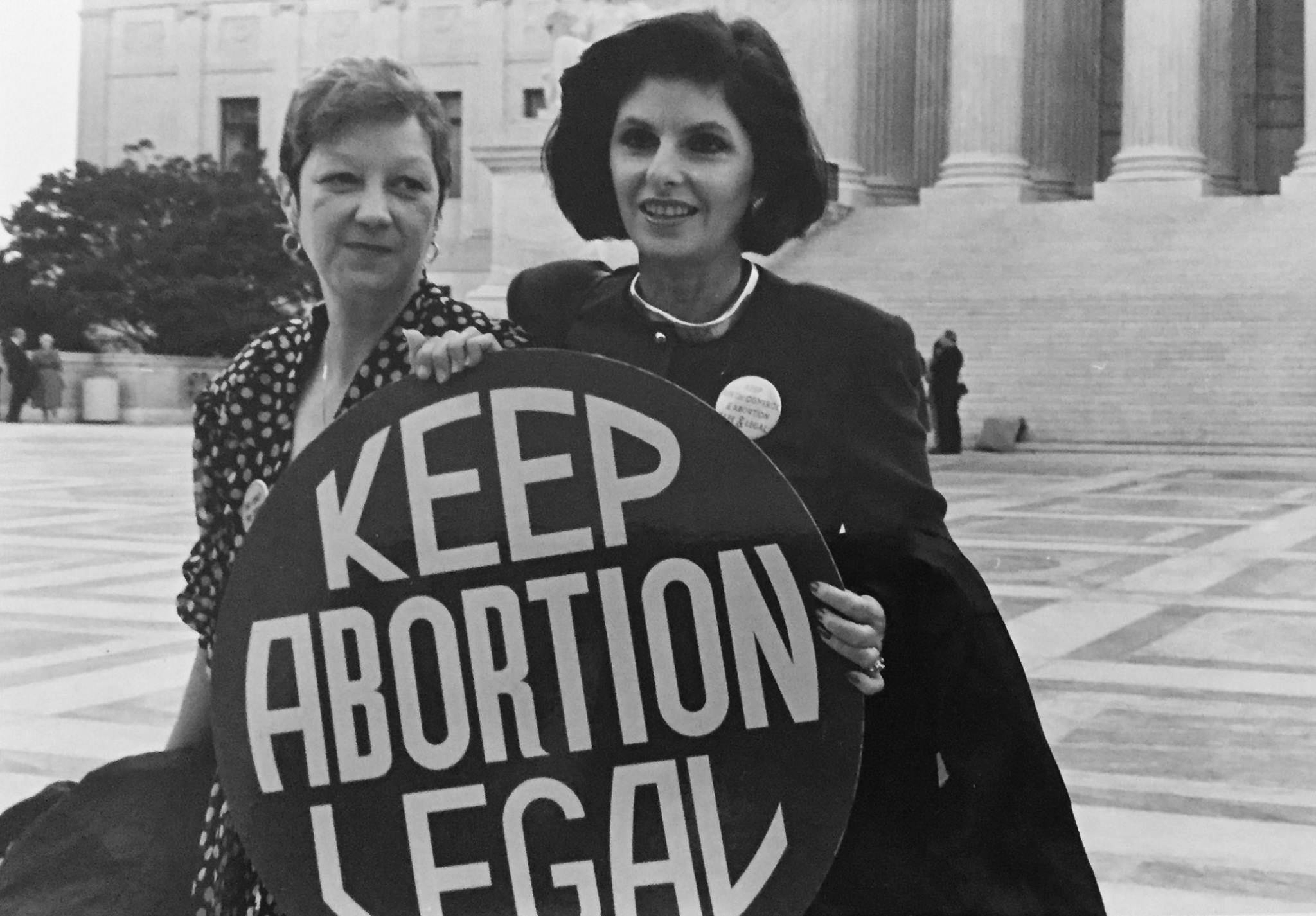 Jane Roe with her lawyer on the steps of the Supreme Court in 1989 (Photo courtesy of Lorie Shaull via Flickr).
