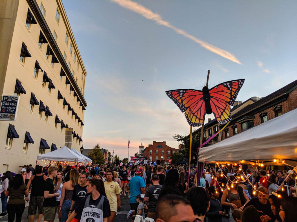 Butterflies fill the town center in light of the event's partnership with the Butterfly Coalition (Photo Mary Frasier/The Gettysburgian)