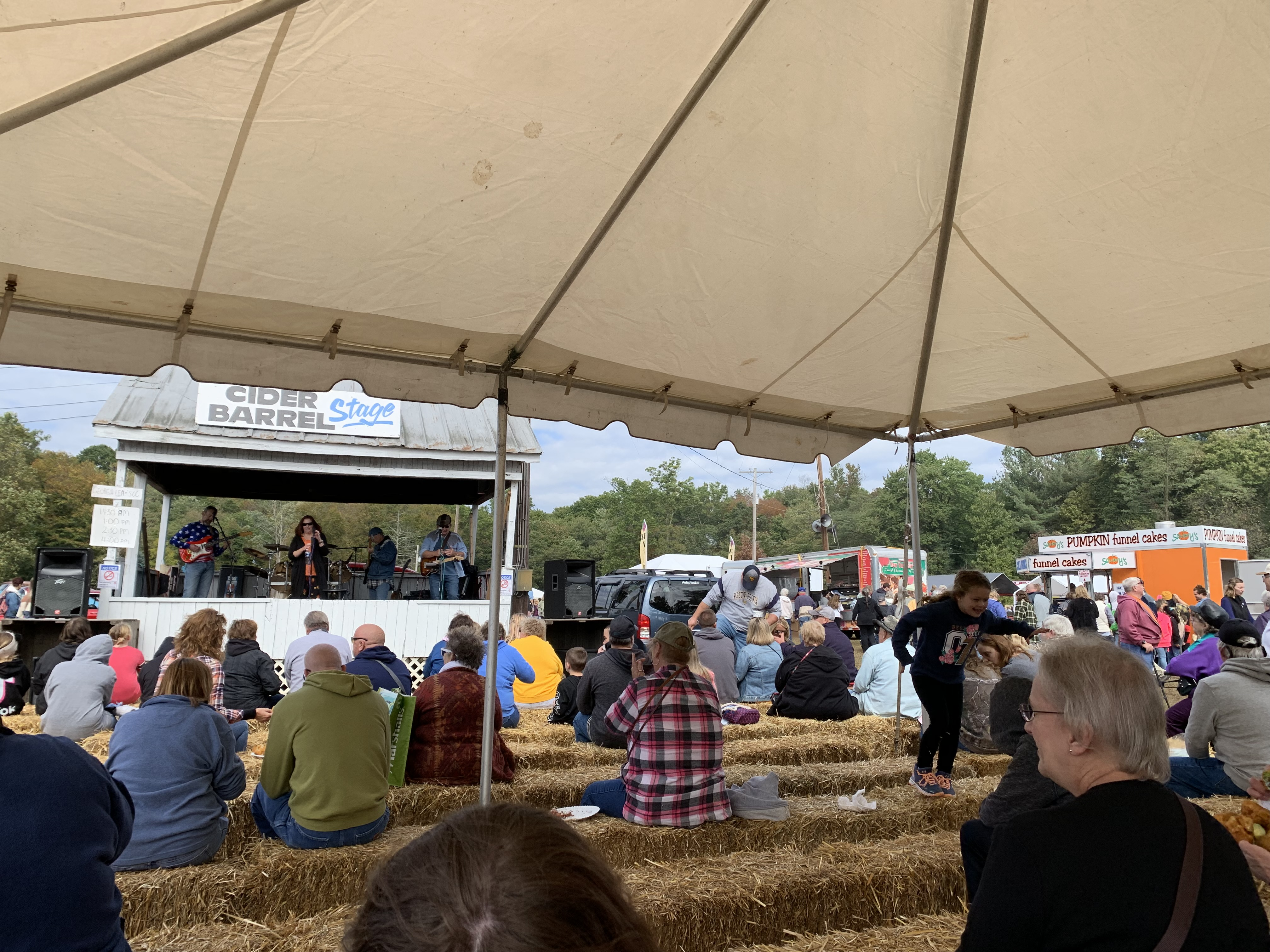 Fair-goers listen to live music at the National Apple Harvest Festival (Photo Phoebe Doscher/The Gettysburgian)