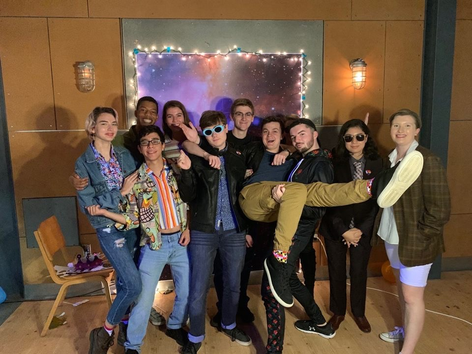Students pose at the photo booth at the Gender Bender in the Attic (Photo courtesy of Kyle Beatty)