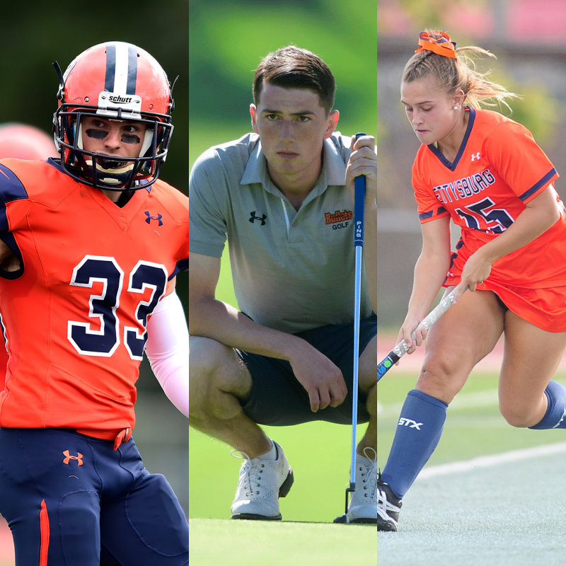 A sampling of some of the Under Armour uniforms already in use (Photos courtesy of Gettysburg College Athletics)