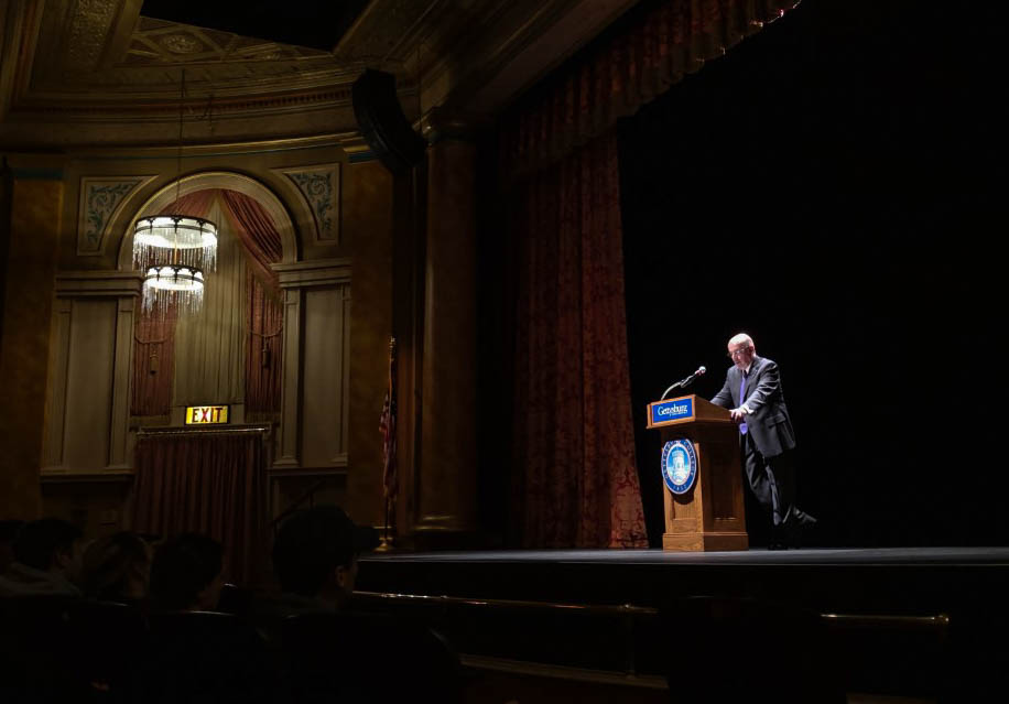 Brooks D. Simpson delivering this year's Fortenbaugh Lecture at the Majestic Theatre, held on the anniversary of Lincoln's Gettysburg Address (Photo Mary Frasier/The Gettysburgian)