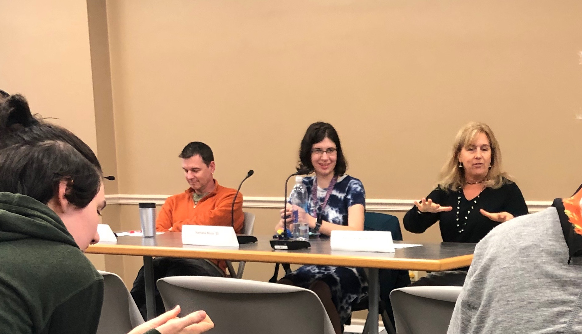 Biology Department Chair Matthew Kittelberger Nathalia Mazza '20, and Psychology Lecturer Katherine Delaney speak at a panel discussion on autism (Photo Jane Fitzpatrick/The Gettysburgian)