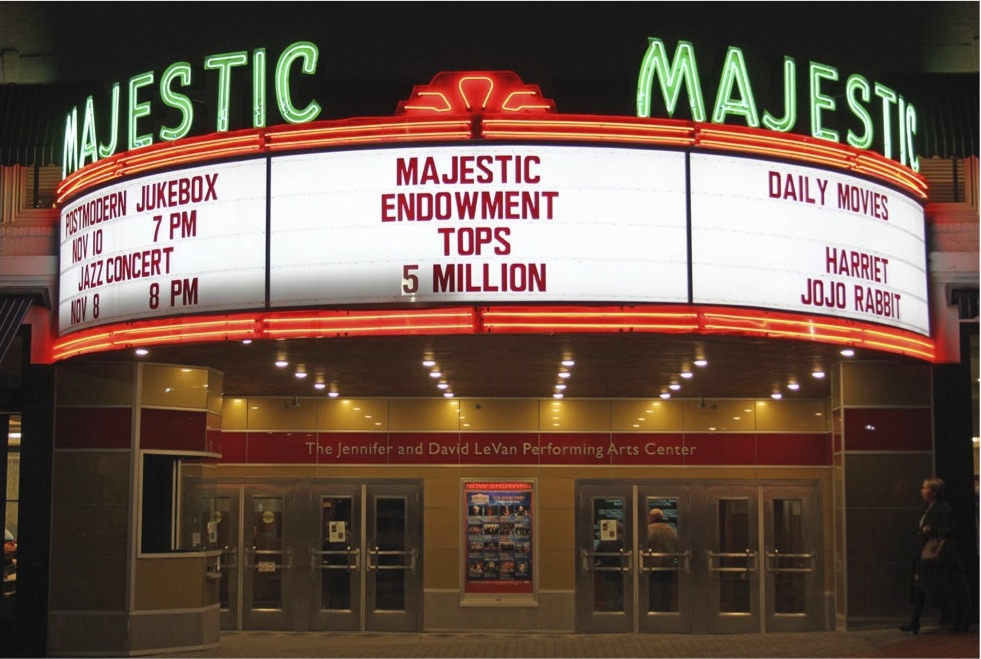 Gettysburg College's Majestic Theatre celebrated its successful endowment campaign by posting the campaign total on the marquee (Photo courtesy of the Majestic Theater)