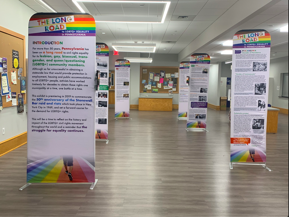 The Long Road to LGBTQ+ Equality exhibit displayed in the College Union Building (Photo Britney Brunache/The Gettysburgian)