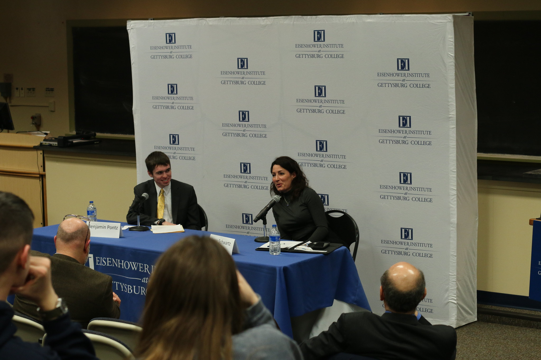 Moderator Benjamin Pontz '20 (L) and Speaker Lara Schwartz (Photo courtesy of the Eisenhower Institute)