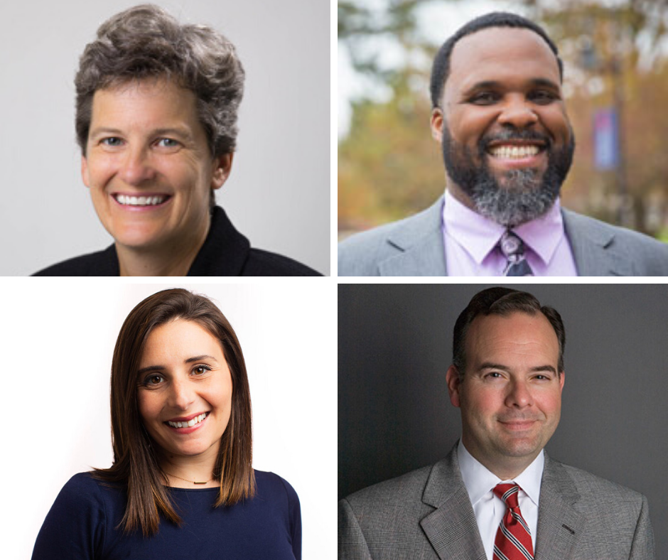 Iuliano shuffled President's Council to add Kristin Stuempfle (top left), Darrien Davenport (top right), and Jamie Yates (botto left), while adding new responsibilities to the portfolio of Dan Konstalid (bottom right) (Photos courtesy of Gettysburg College)