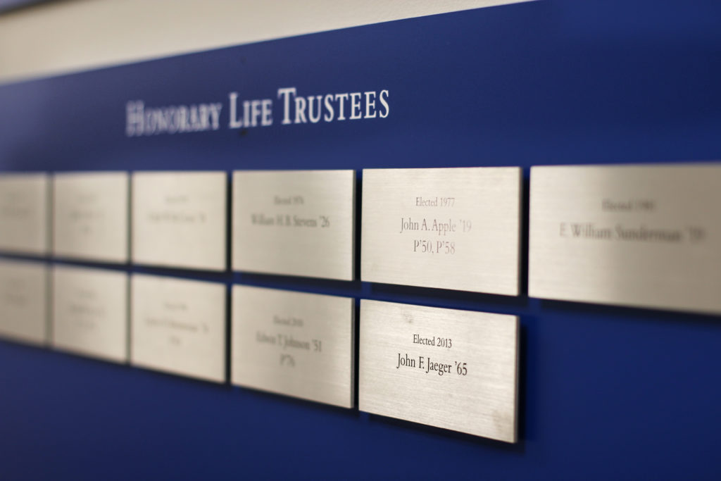 John F. Jaeger Honorary Life Trustees Plaque (Photo Allyson Frantz/The Gettysburgian)