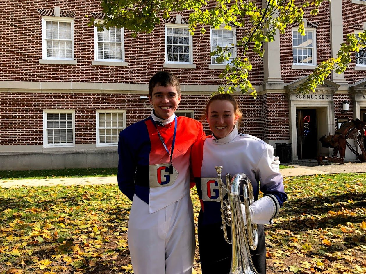 Gettysburgian Editor-in-Chief (and Bullets Marching Band Drum Major) Benjamin Pontz '20 and Magazine Editor (and Baritone Section Leader) Lauren Hand '20