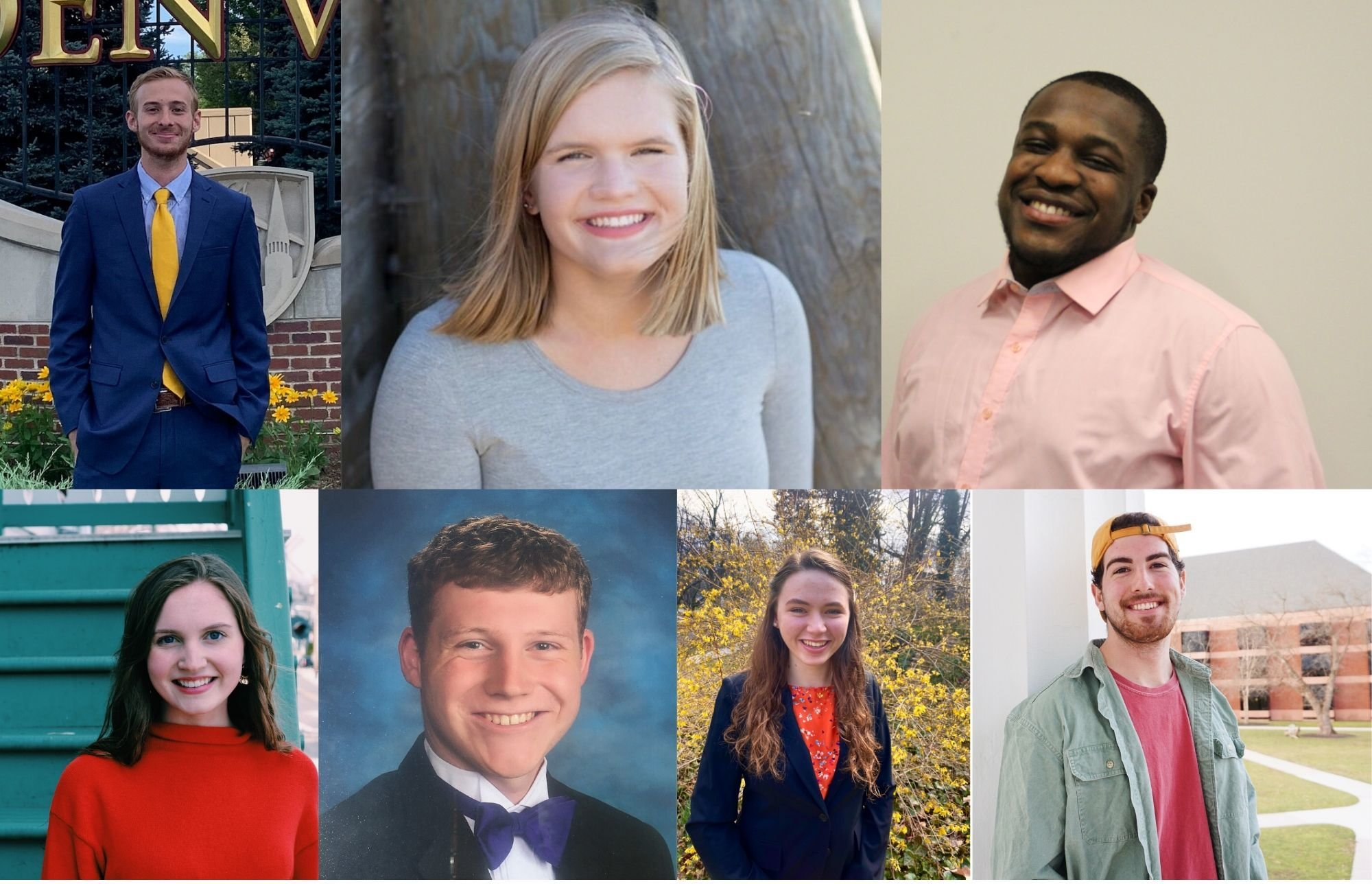 Clockwise, from top L: Presidential Candidates Kurtis Grey '21, Nadine Snyder '21, Hassan Williams-Kone '21, and Rock Swartz '22; Vice Presidential Candidates Lauren Browning '22, Matthew James '21, and Katherine Troy '21. (Photos Provided)