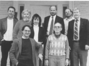 Gaenslen (standing in middle back with suit) in the 1993 political science department photo (Photo courtesy of Spectrum Yearbook)