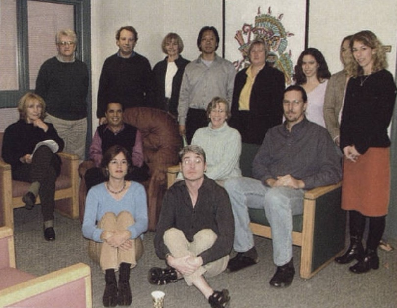 Emmons (standing far left) posing with colleagues in sociology and anthropology (Photo courtesy of Spectrum Yearbook)