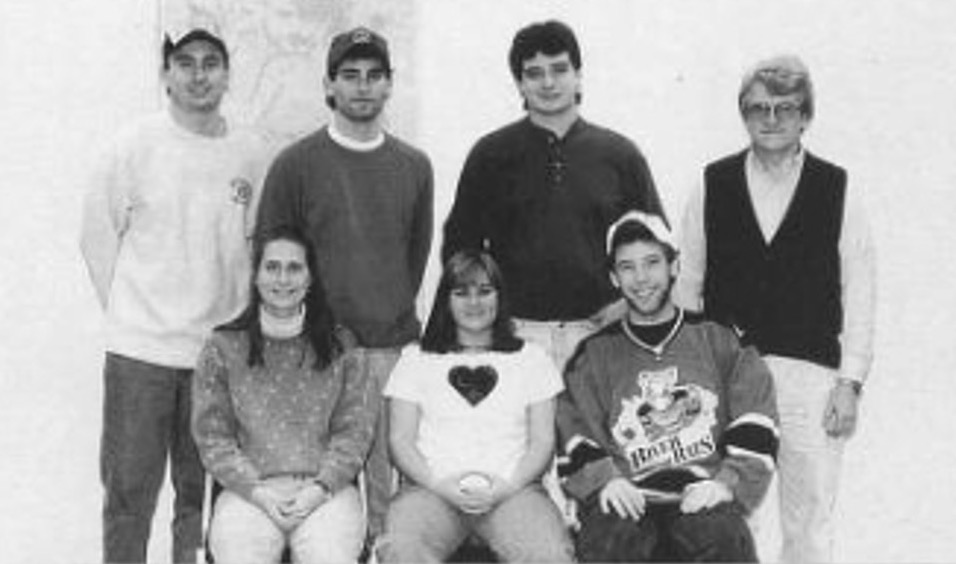 Emmons (far right) with the students he advised for the radio station, WZBT (Photo courtesy of Spectrum Yearbook)