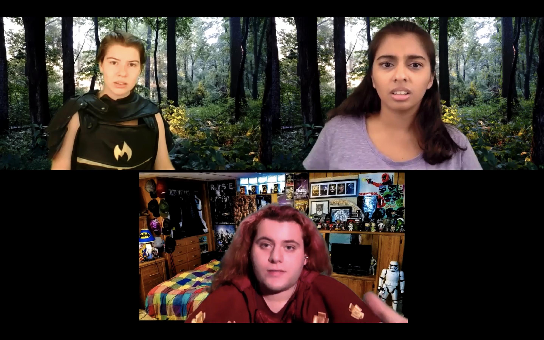 Abigail Richard '21 (left), Gauri Mangala '21 (right), and Christian DeMusis '21 (below) perform in She Kills Monsters: Virtual Realms (Photo courtesy of Chris Kauffman)