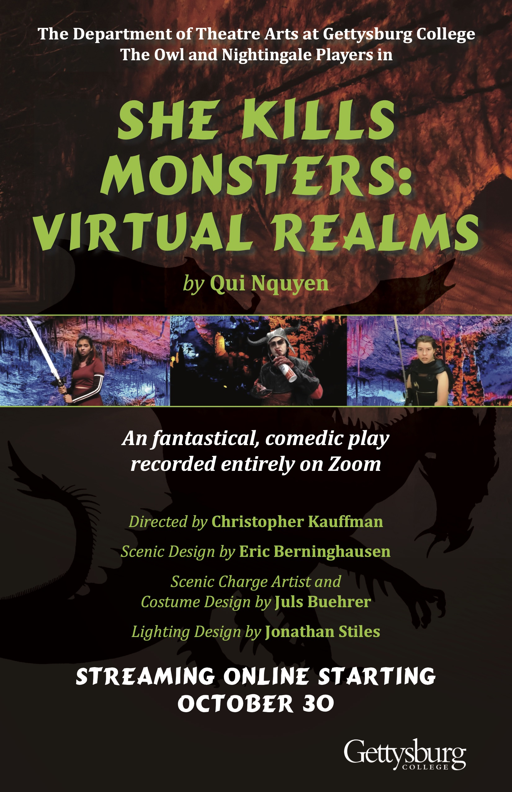 The poster for Gettysburg's virtual production of She Kills Monsters: Virtual Realms