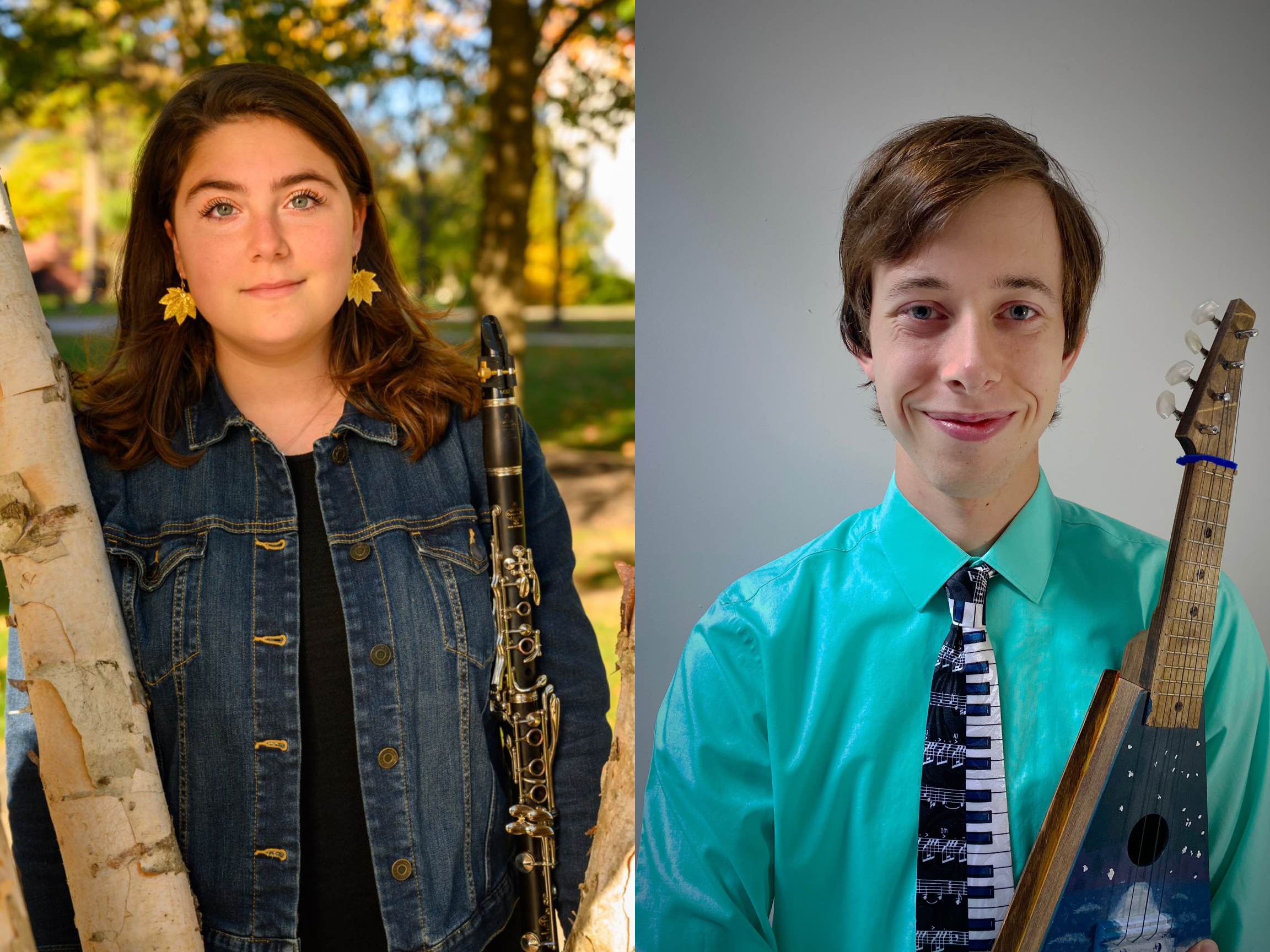 Gettysburg alumni Brooke Maskin '20 (left) and Ben Fruchtl '20 (right) are first-time music educators during the COVID-19 pandemic.