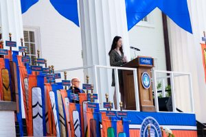 Kayla Julio '21 giving the opening address at the Class of 2025 Convocation (Photo Aly Wein/The Gettysburgian)