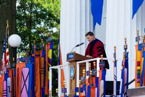 Professor Benjamin Luley giving faculty speech at the Class of 2025 Convocation (Photo Aly Wein/The Gettysburgian)