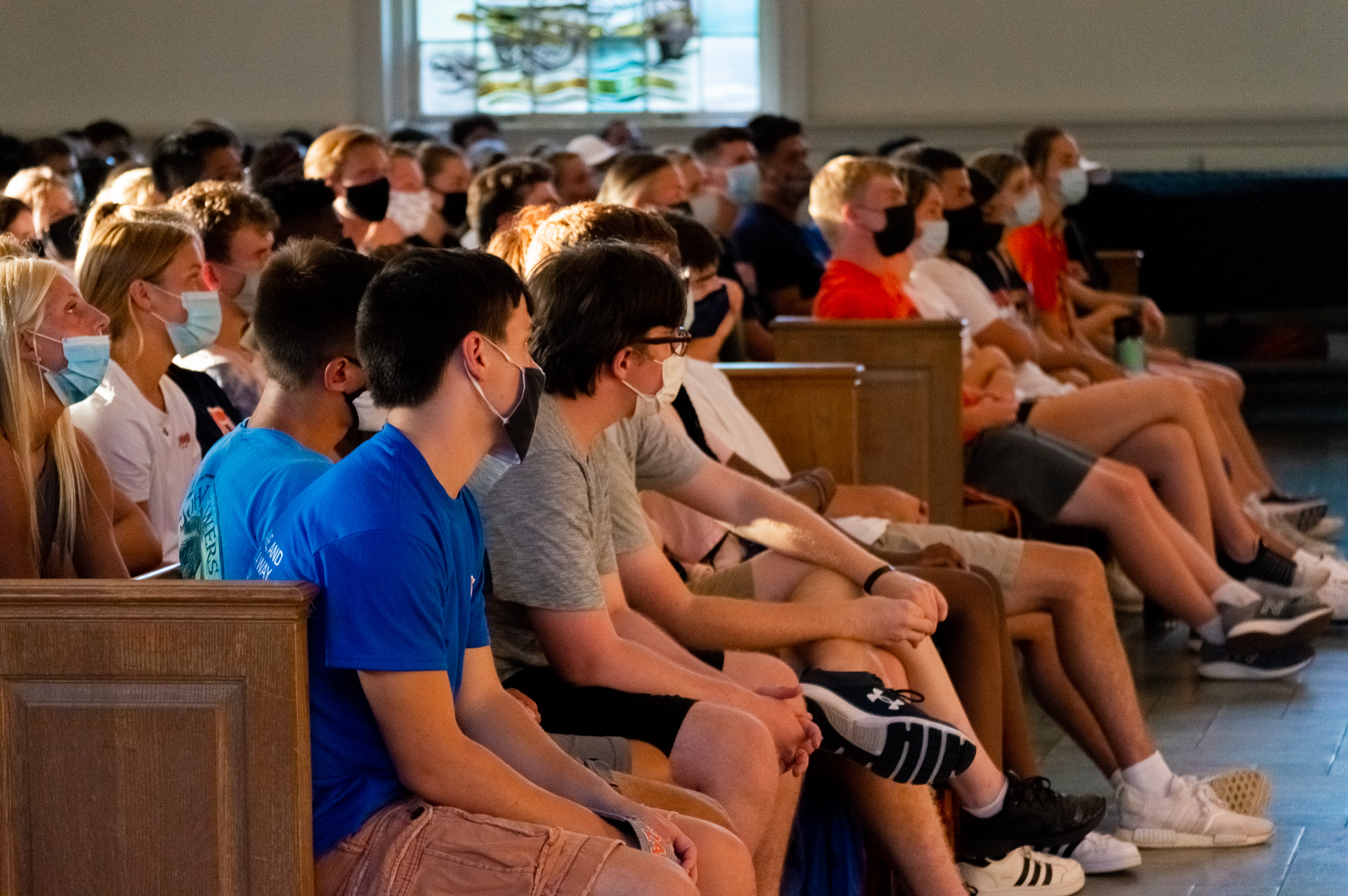Students listen to President Iuliano in the Chapel before the First-Year Walk (Photo Aly Wein/The Gettysburgian)