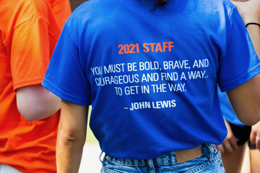 A quote from John Lewis on the back of the Orientation 2021 t-shirts (Photo Aly Wein/The Gettysburgian)