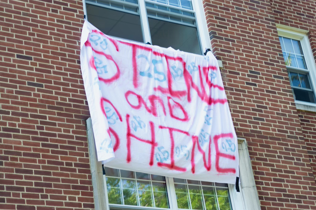 """The banner hung on Stine Hall: """"Stine and Shine"""" (Photo Aly Wein/The Gettysburgian)"""