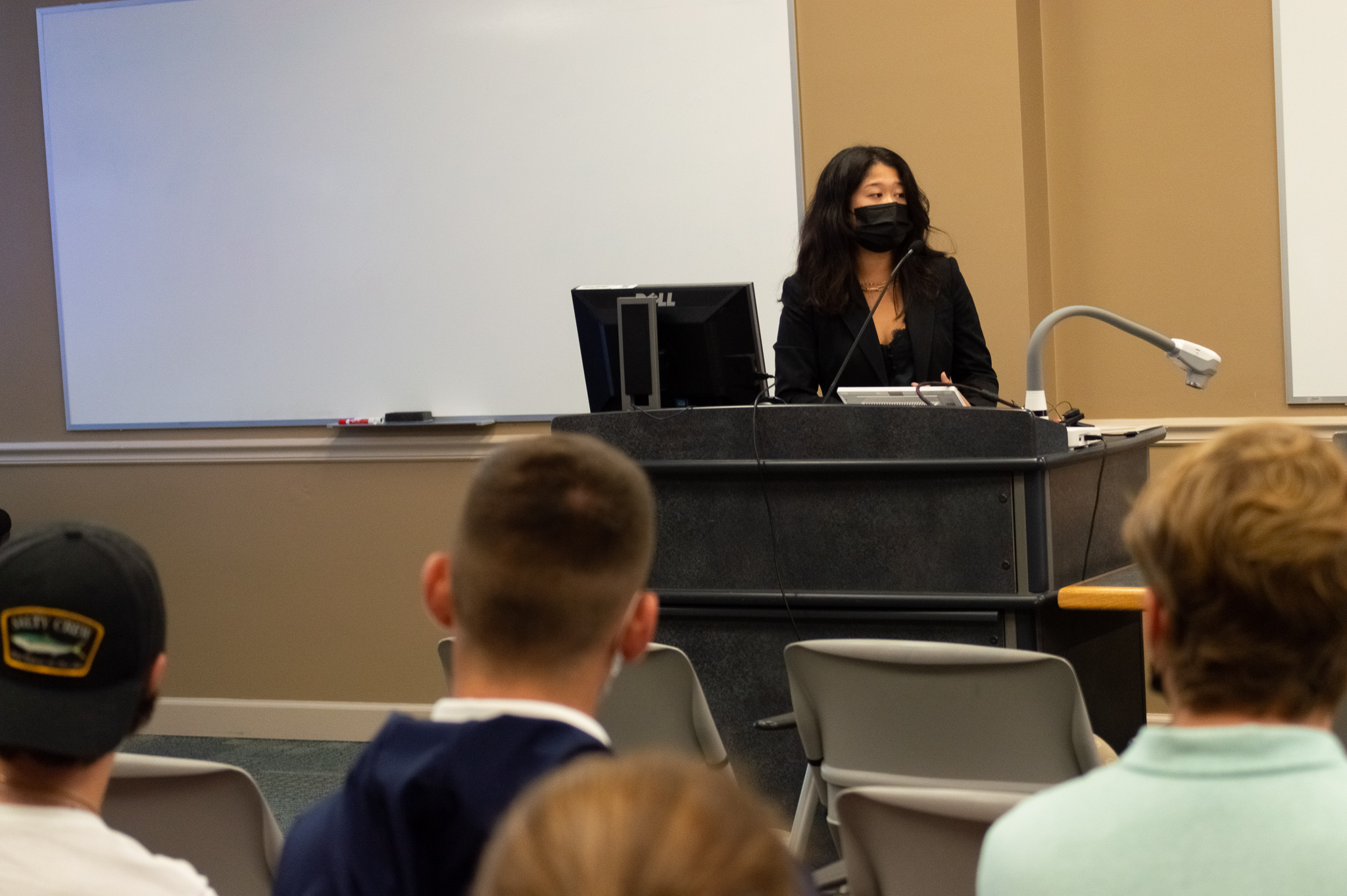 Senate President Syd Quan '22 speaks during a Senate meeting (Photo Aly Wein/The Gettysburgian)