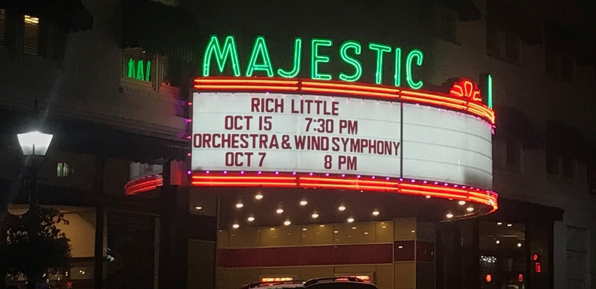 The Majestic Theater's marquee advertises a Sunderman Conservatory concert for the first time in nearly two years (Photo courtesy of Megan McCook '23)