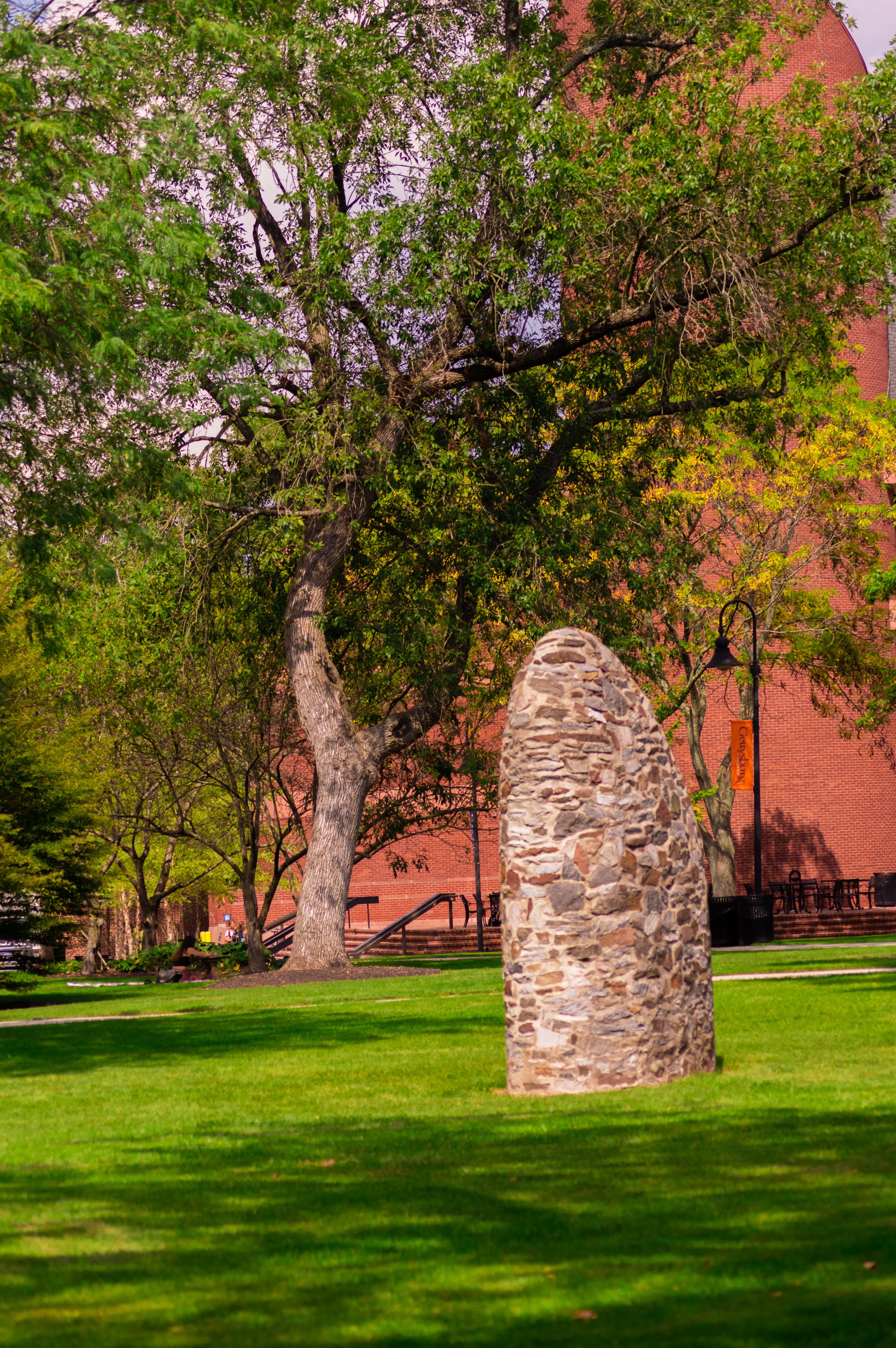 """Martin Puryear's """"Sentinel"""" on the Gettysburg College campus (Photo Aly Wein/The Gettysburgian)"""