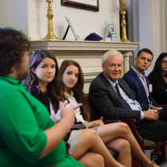 Chris Matthews and Howard Fineman engage students in political discourse